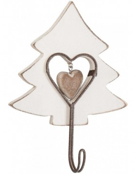 FIR TREE wooden hook - white
