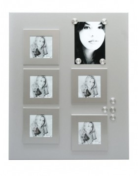 Large silver magnet board with 5 magnetic frames