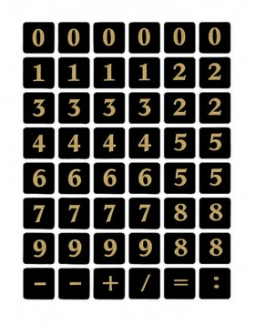 Numbers 13x13mm 0-9 film black gold embossed  2 sheets