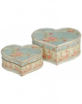 antique boxes in 2-part Set 20x17x8 / 26x22x11 cm