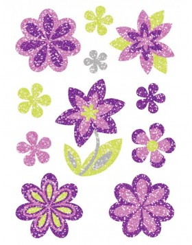 bunte Sticker Blumen Diamond, glitzernd