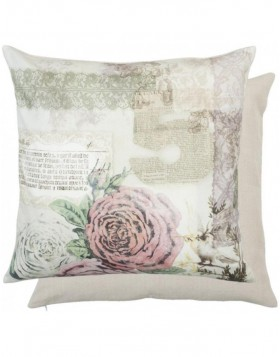 decorative cushion cover with roses naturally 50x50 cm