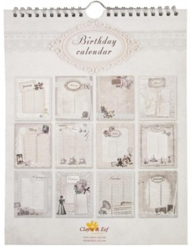 English birthday calendar Vintage designs
