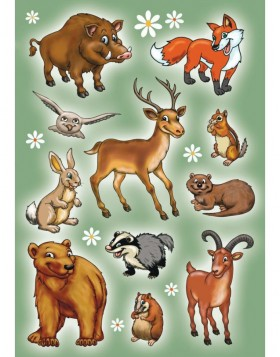Stickers FOREST ANIMALS - MAGIC, self adhesive