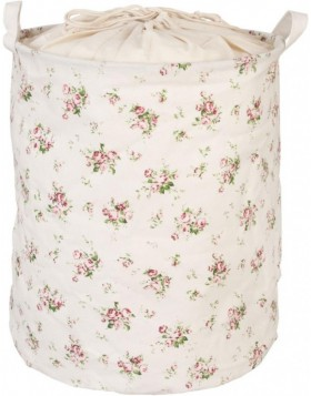 bright laundry bag with rose motif  Ø 35x45 cm