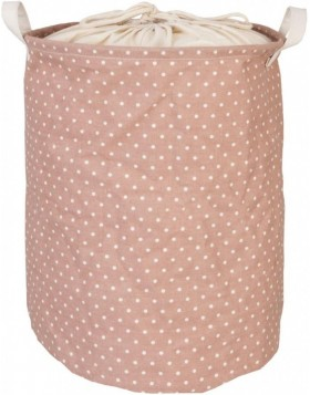 pink laundry bag with white dots  Ø 35x45 cm