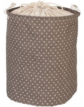 brown laundry bag with white dots  Ø 35x45 cm