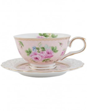 6CE0435P Clayre Eef cup with saucer - rose