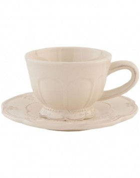 6CE0263 Clayre Eef cup with saucer RUSTIC ROMANCE - natural