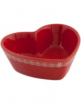 6CE0102M Clayre Eef Romantic Heart ? bowl - red