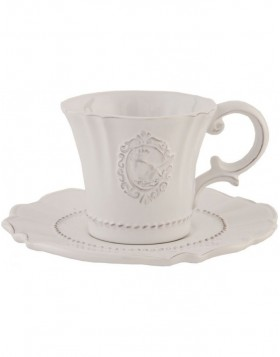 6CE0273 Clayre Eef QUEEN OF BIRDS cup with saucer - natural