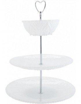 6CE0415 Clayre Eef Three-tier server ROMANTIC - white/silver
