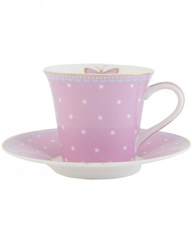 6CE0411 Clayre Eef cup with saucer - pink