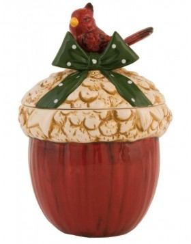6CE0405 Clayre Eef Christmas decoration pot - red/colourful