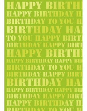 Papier 70x100 cm Happy Birthday gr�n