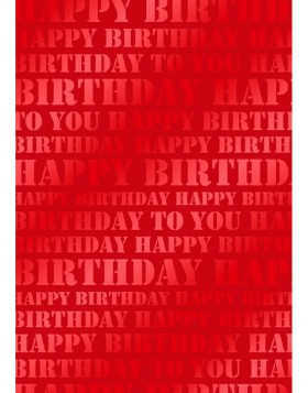 Papier 70x100 cm Happy Birthday rot