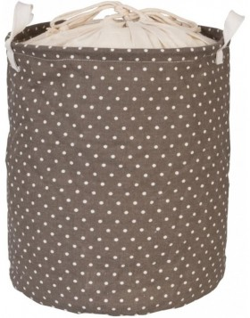 brown laundry bag white polka dots Ø 30x40 cm