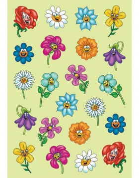 Stickers Flower Faces - MAGIC, self adhesive