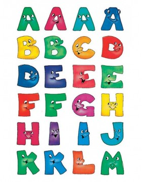 Letters 20mm A-Z paper funny faces 2 sheets