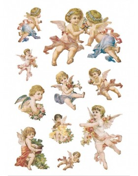 Nostalgic stickers Angels - slef adhesive, DECOR - glitter