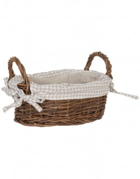 Oval basket with fabric cover brown 26x17x14 cm