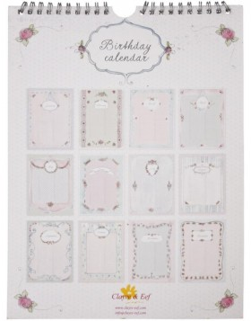 romantic birthday calendar English