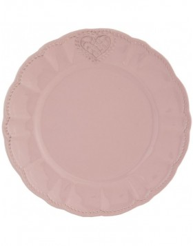 HEART 21 cm pink plate