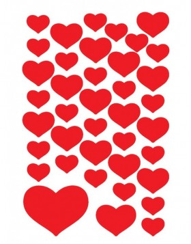 decorative labels Red Hearts - DECOR