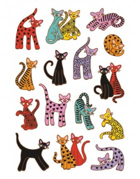 decorative labels DECOR Abstrakte Katzen 3 sheets