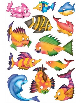 decorative labels DECOR Bunte Fische 3 sheets