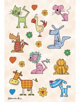 decorative labels DECOR Gemusterte Tiere 3 sheets