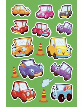 decorative labels MAGIC Lustige Autos 1 sheet