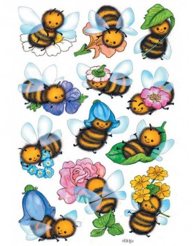 decorative labels DECOR Lustige Bienen
