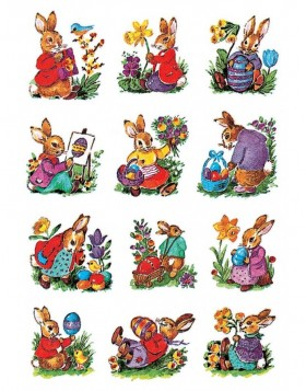 decorative labels Easter Bunnies - 3 sheets