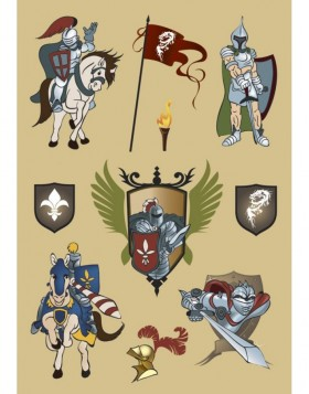 Colourful stickers Knights - self adhesive, DECOR