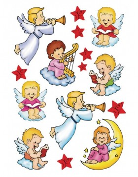 Stickers CHRISTMAS ANGELS - self adhesive, DECOR