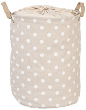 white dotted laundry bag beige  Ø 30x40 cm