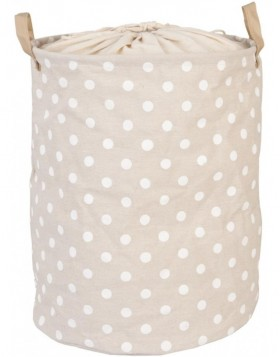 white dotted laundry bag beige  Ø 35x45 cm
