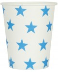 paper cups STARS white/blue 8 cm