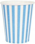 paper cups STRIPES light-blue 8 cm