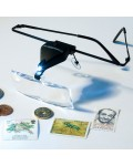 LED light magnifying lens glasses with 3 different changable par