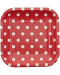paper plate DOTS cm red 15x15 cm