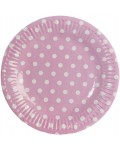 paper plate DOTS  � 18,5 cm pink