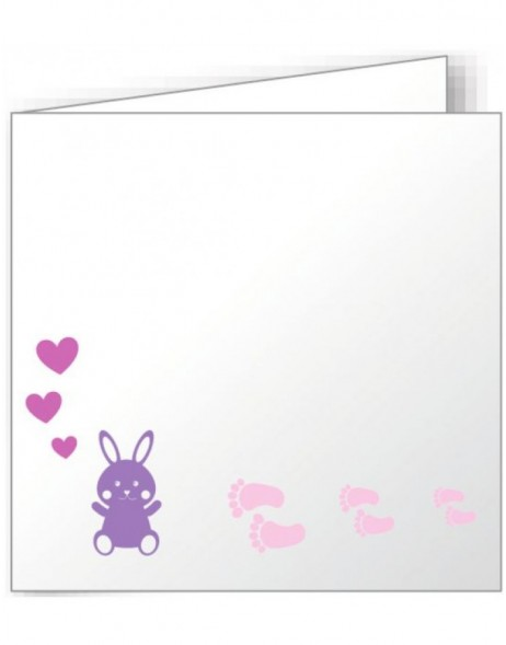 10 folded cards 135x135 mm colourful - rabbit