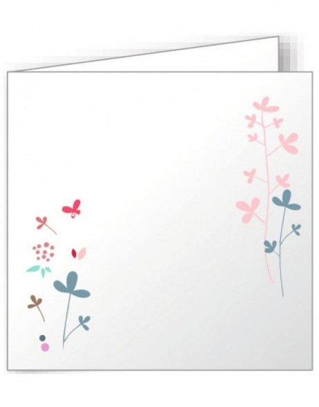 10 folded cards 135x135 mm colourful - modern flowers
