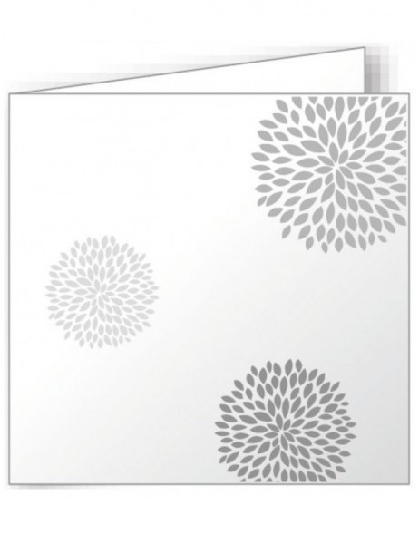 10 folded cards 160x160 mm white - round flowers
