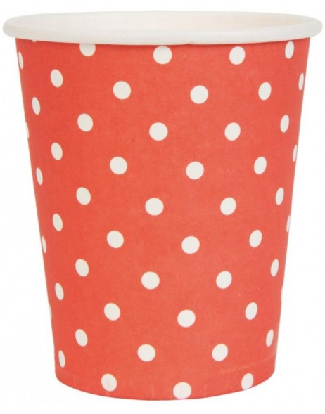 paper cups DOTS II red 8 cm