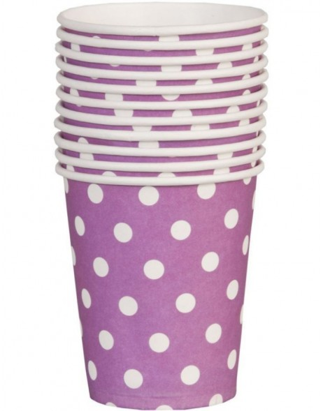 paper cups DOTS aubergine/purple 8 cm