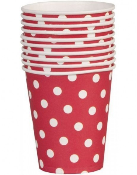 paper cups DOTS red 8 cm