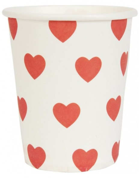 paper cups HEARTS red 8 cm